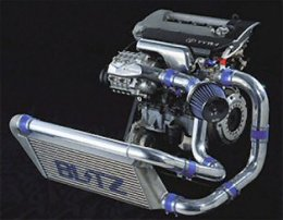 Picture of a BLITZ roots type supercharger kit setup with intercooler