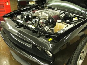 Picture of RDP's twin Harrop supercharger setup on a Dodge Challenger SRT8